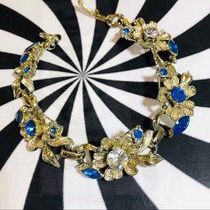 Vintage floral silver blue rhinestone bracelet